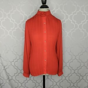 Vtg Contempo Red Sheer Pleated Blouse